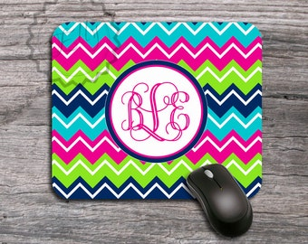 Monogrammed Mousepad,  Colorful chevron Personalized Mouse Pad, computer accessory - 026