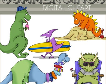 Dinosaurs Clipart Summer Dinosaurs -Personal and Limited Commercial Use- Dino Clipart