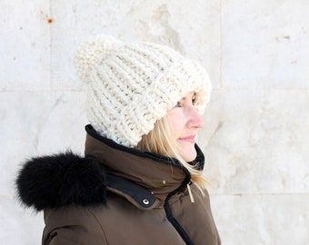 Super chunky knit hat / Chloe Kim hat / Olympic hat 2018 / Winter hat with pom pom / Ski hat