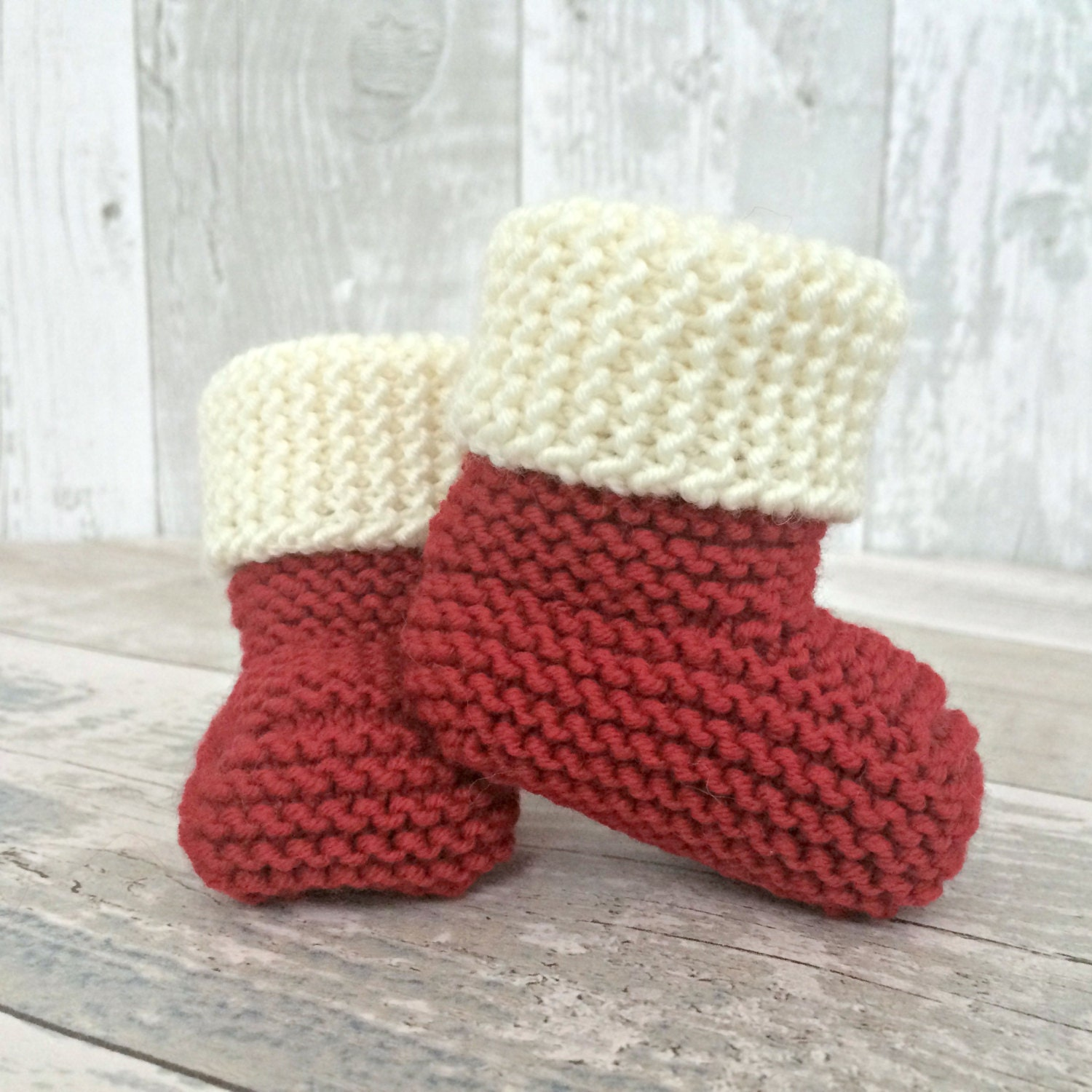 Christmas Baby Booties Christmas Baby Announcement Knitted