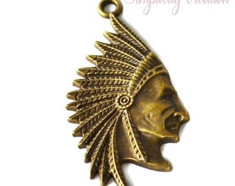 Indian Chief bronze 50 mm x 30mm pendant