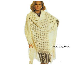 Vintage Shell Shawl Crochet Pattern Women's Shawl Digital Crochet Pattern