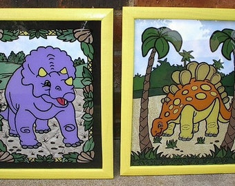 Pair of DINOSAURS - Framed -  HAND PAINTED Reverse painted on Glass