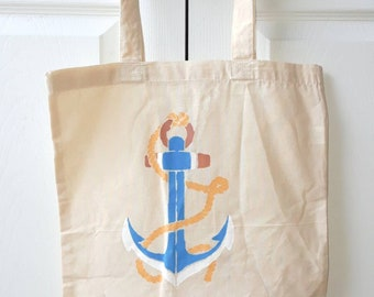 Blue anchor tote