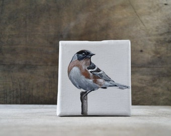 Original Painting. Acrylic on Canvas.  Bird painting. Woodland, modern rustic. Mini canvas, small canvas.