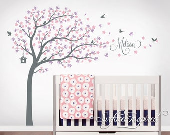 Tree Wall Decal Nursery Large Tree Wall Decals Personalized Names And Birds Whimsical Cherry Blossom Tree Wall Decals Decor Wall Art Sticker  sc 1 st  Etsy & Removable Wall Decals Name Monograms Trees by SurfaceInspired