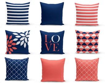 Throw Pillow Covers, Navy Coral Pillows, Cushion Covers, Home Decor, Mix and Match, Love, Floral, Solid, Navy Coral White, Geometric
