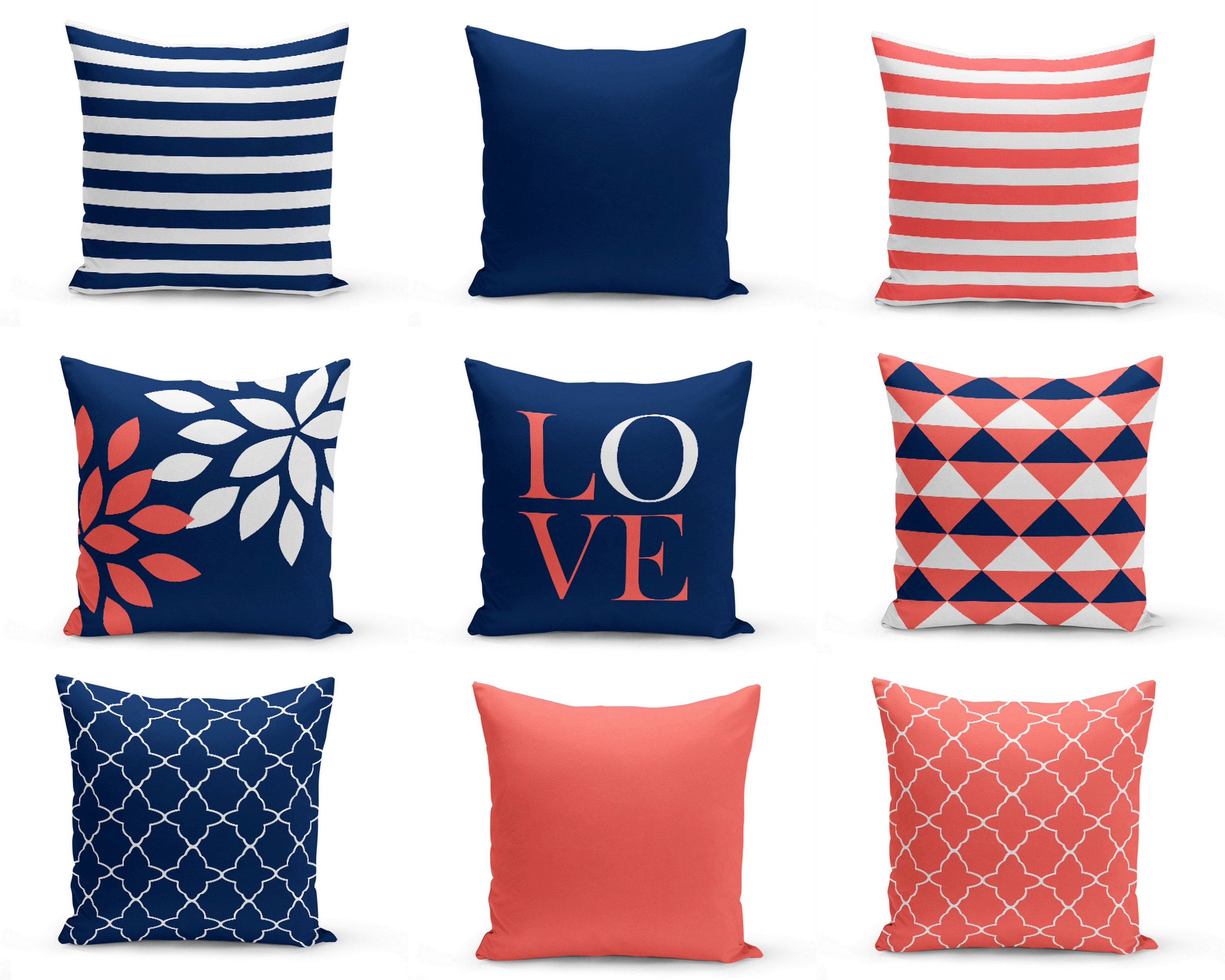 Throw Pillow Covers Navy Coral Pillows Cushion Covers Home