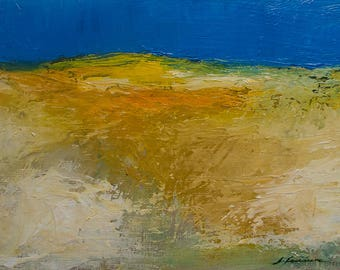 Original Landscape oil painting, abstract colorful  landscape, ALENTEJO BLUE, texture, atmospheric, modern art, 5x7 inches