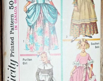 Girls Costume Patterns Simplicity 6205, Colonial Lady, Puritan Girl, Southern Belle, Frontier Gal