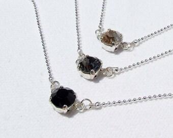 Swarovski Crystal Choker, Silver chain, single stone in your choice, Jet, Black Diamond, Golden Shadow