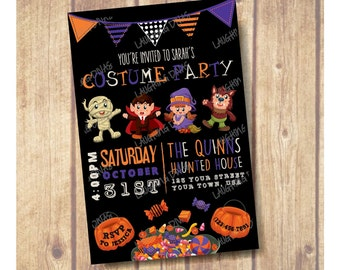 SALE!!! Kids Halloween Party Invitation; Kids Halloween Costume Party Invite; Kids Halloween Birthday Party, Kids Halloween Costume Party