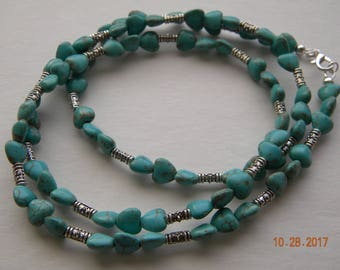 Turquoise beaded jewelry.Long necklace.Southwest jewelry.Western necklace.Cowgirl jewelry.Cowgirl necklace.Bojo jewelry.