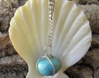 Turquoise Sphere Pendant Necklace/Pendant Necklace/Turquoise Necklace/BOHO Necklace/BOHO Jewelry/Dainty Necklace/Stone Necklace/Necklace