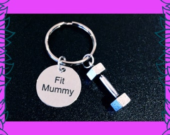 Fitness gift for mum, Mum fitness gifts, Fit Mummy charm keyring, moms into fitness gift idea, dumbbell charm, gym fitness jewellery UK