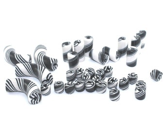 Tube beads, DIY jewelry gift for her Valentines, DIY friendship bracelet, black and white craft, handmade polymer clay beads, 34 pcs assort.