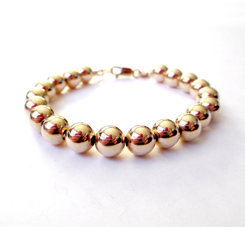 Bracelet 14K Gold Filled Bead Bracelet 8mm Beads