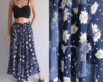 Jupe gypsy floral, réuni, bleu marine & blanc, long maxi longueur, jupe de prairie gypsy Bohème, jupe en patchwork, élastique taille haute, moyenne