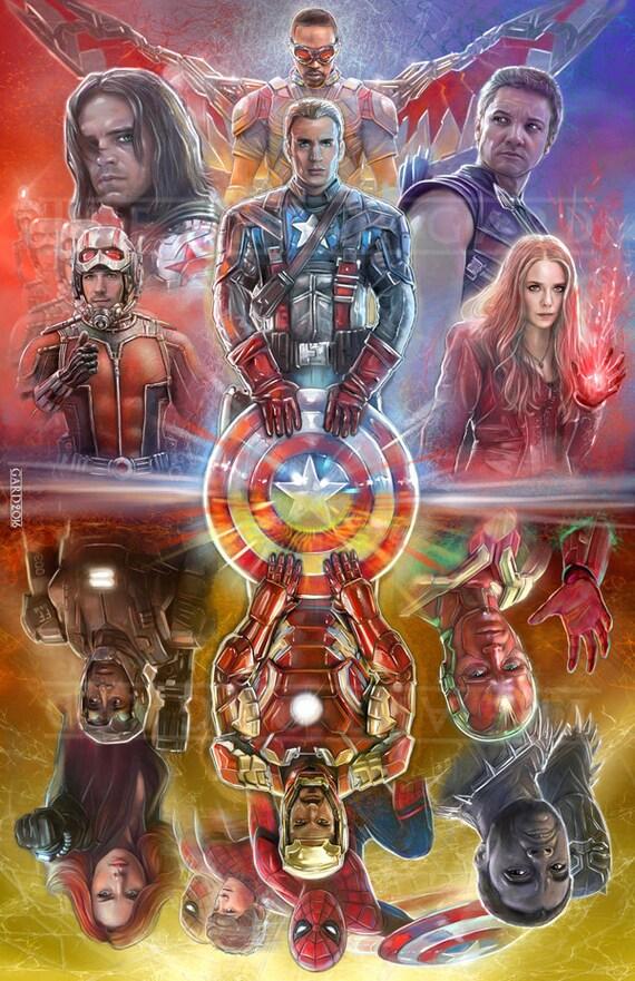 Captain America Civil War (mirrored collage) 11X17 ART PRINT