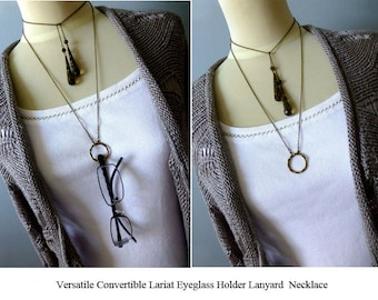 Boho Circle Lariat Necklace - Filigree Crystal Necklace - Convertible Eyeglass Holder in Smoke Grey or Clear Silver