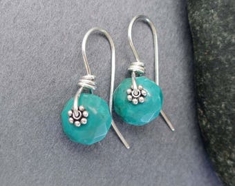 Genuine Turquoise Drop Earrings Sterling Silver Jewelry Simple Petite Small Turquoise Earrings