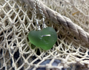 Green Sea Glass Heart Pendant
