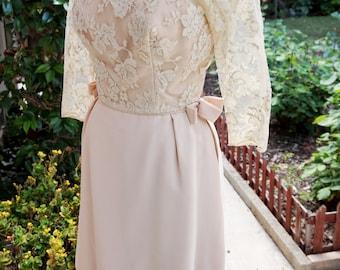 Vintage Light Pink Dress, Pink Lace Dress, Beige Lace Dress, Sheer Lace Sleeves/Layered Skirt, Unique Conservative Feminine Bows Rose Dress