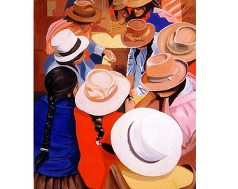 Peru Market Cusco, People wearing hat,Original illustration Artist Print Wall Art, Free Shipping in USA.