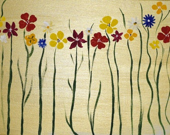 Acrylic Abstract Painting on Canvas Flowers Wall Art Modern Art 30x60cm - Summer Flowers