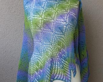 blue green purple lace shawl, triangle estonian wool shawl, oversize light lavender shawl, summer wrap