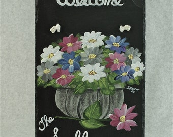 Painted Slate - Multicolored Flowers with Gray Basket *Personalized No Charge*