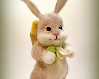 Felted сhicken Needle felted animal Animal bunny Bunny animals Bunny whis a basket Miniature doll Bunny and сhickens Cute bunny Cute сhicken