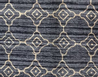 Cotton block print colors taupe and black circle pattern