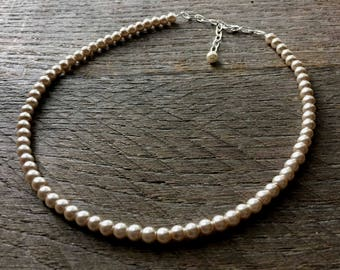 Champagne Flower Girl Necklace Pearl One Single Strand Simple Pearl Necklace on Silver or Gold Chain