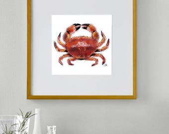 Framed crab print // crab print // crab bathroom decor // crab art // crab decor // crab wall art // nautical decor // seaside decor