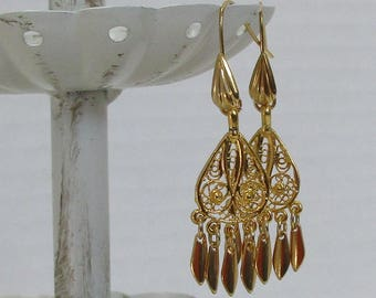 Filigree, Dangle Victorian-Style Earrings,  Gold-Plated Earwires, Civil War or Victorian Appropriate-Affordable Elegance