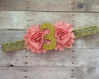 Number Birthday or Half Birthday Headband - Lots of Color Choices!