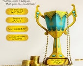 Mother's Day Gift | Printable DIY Trophy Cup Papercraft | Friend Father Teacher Award Prize Surprise | Blue & Gold Design | pdf template