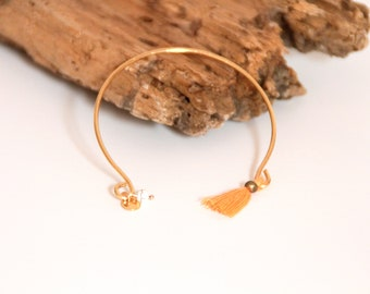 Fine gold, orange tassel Bangle Bracelet
