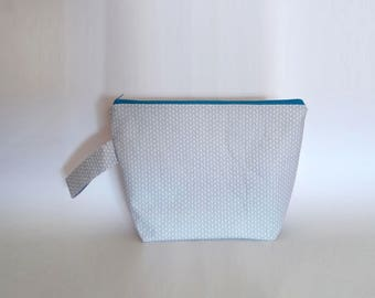 Medium / Large Knitting Project Bag with handle, Knitting Stitches Zipper Project Bag, Grey Zipper Pouch Great For Pin Collectors