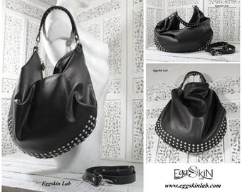 N6FAB21416 is roomy and soft shoulder bag, leather purse, italian quality leather, cross body bag, soft italian leather purse with studs.
