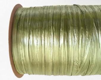 Pearl Sage Green Raffia Ribbon - 30/100 yards - 1/4 inch wide