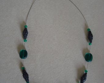 Emerald Green Black corrugated cardboard and beads necklace