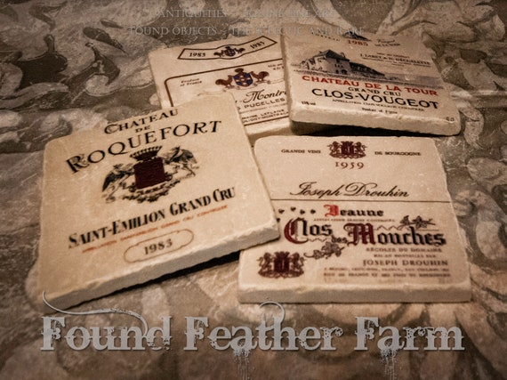 Tumbled Marble Coasters with Vintage French Wine Labels
