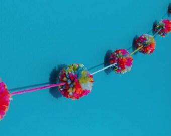 Colorful pompom garland