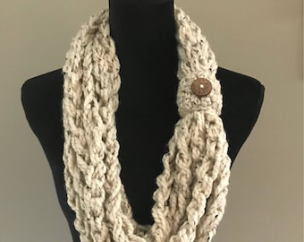 Crochet scarf/neck warmer/cowl with button embellishment