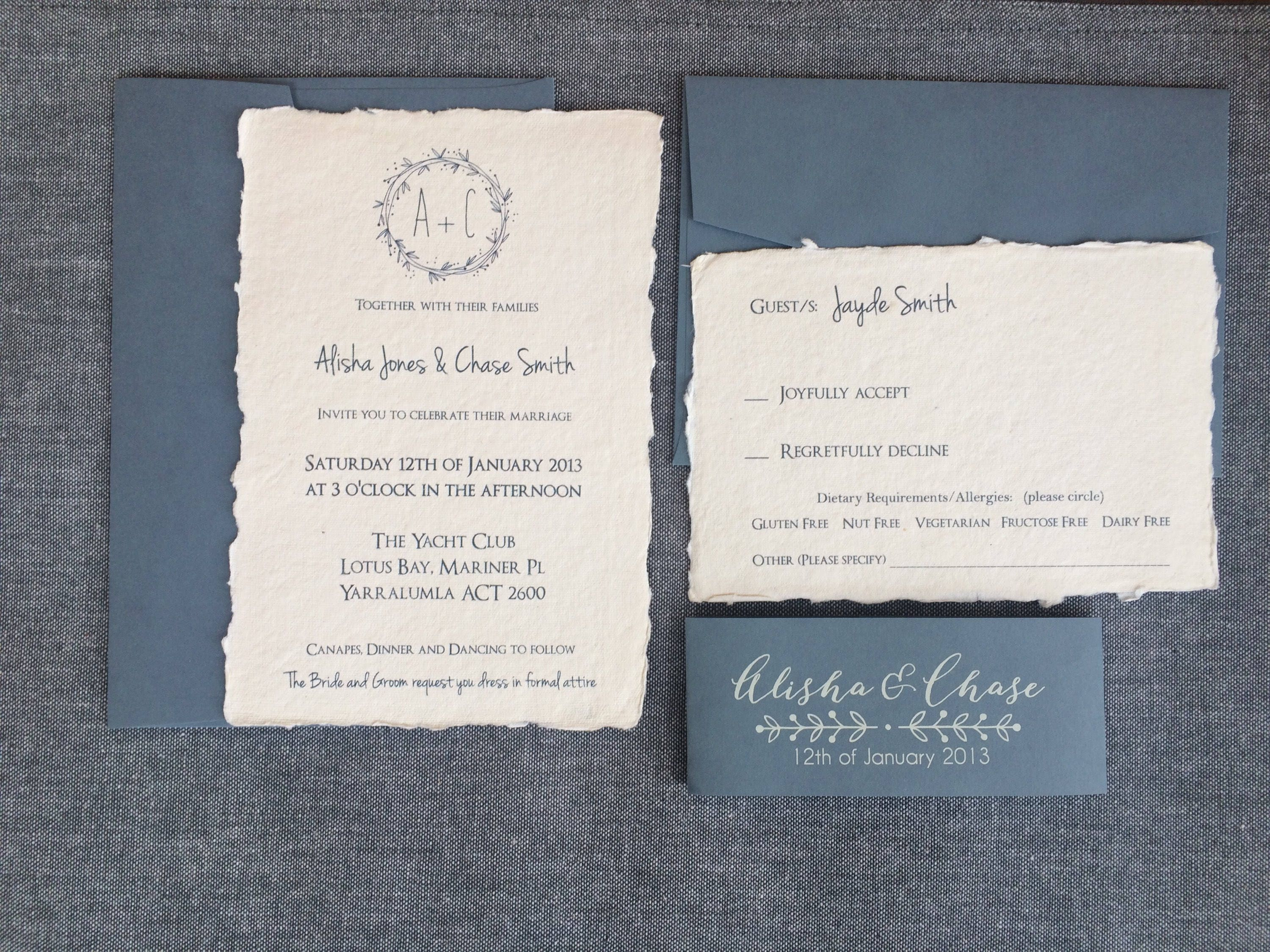 100 handmade paper wedding invitations rustic deckled edge