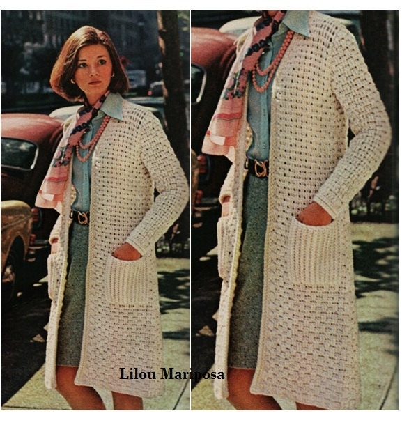 Crochet cardigan pattern vintage 70s crochet coat top crochet zoom dt1010fo