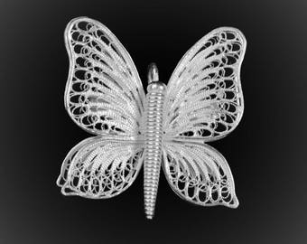 Embroidered with silver Butterfly pendant brooch