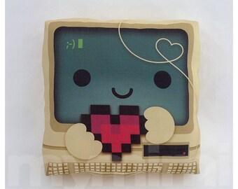"""Geek Pillow, Computer Pillow, Vintage, Retro, 8bit Heart, I Love You, Nerdy Pillow, Toy Pillow, Throw Pillow, Kawaii, Dorm Decor, 7 x 7"""""""